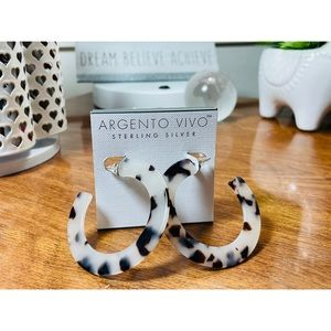 Argento Vivo Sterling Tortoise Hoop Earrings
